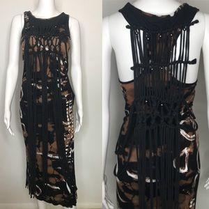 Evil Twin Brown Tie Dye Fringe Maxi Dress Small